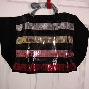 Handbags - Victoria Secret pink gold red sequence tote travel